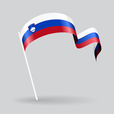 Slovenian pin icon wavy flag. Vector illustration.