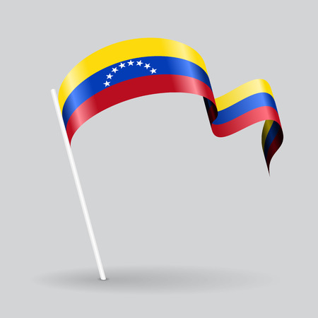 venezuelan: Venezuelan pin icon wavy flag. Vector illustration.
