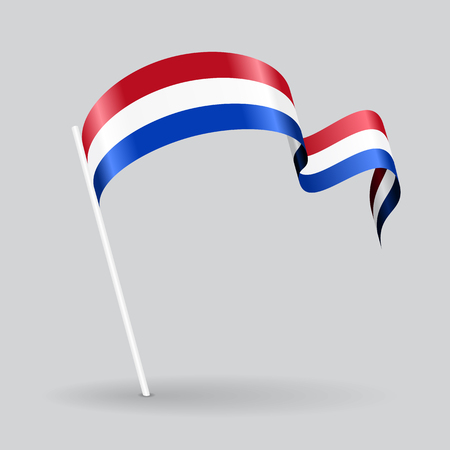 Dutch pin icon wavy flag. Vector illustration. Vettoriali