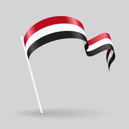 Yemeni pin icon wavy flag. Vector illustration.