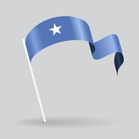 Somalian pin icon wavy flag. Vector illustration. Vetores