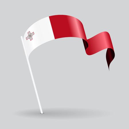 maltese map: Maltese pin icon wavy flag. Vector illustration. Illustration