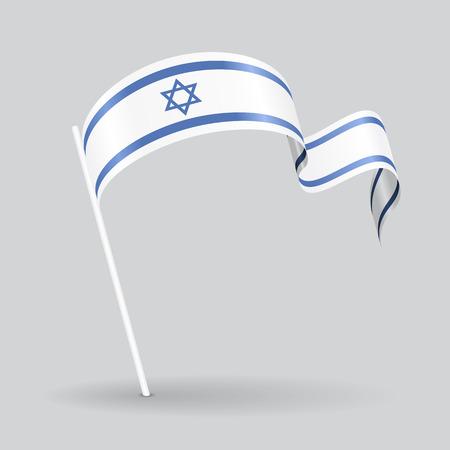 israeli: Israeli pin icon wavy flag. Vector illustration. Illustration