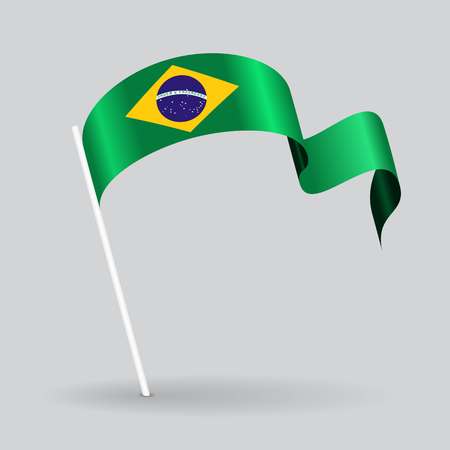 brazilian: Brazilian pin icon wavy flag. Vector illustration. Illustration