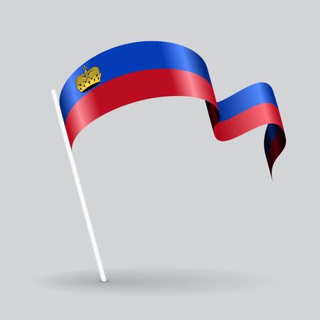 Liechtenstein pin icon wavy flag. Vector illustration.