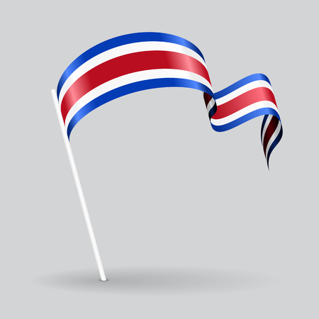 Costa Rican pin icon wavy flag. Vector illustration.