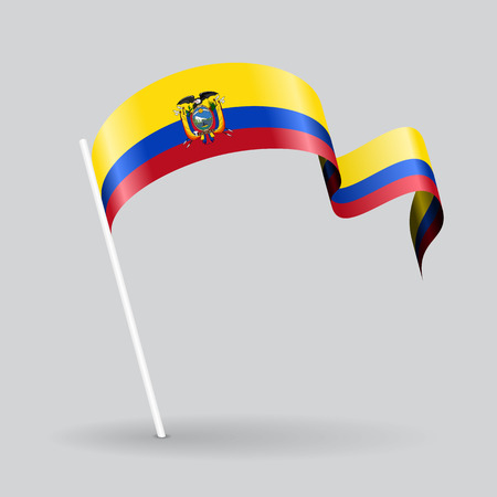 Ecuadorian pin icon wavy flag. Vector illustration. Illustration