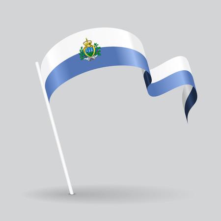 San Marino pin icon wavy flag. Vector illustration.