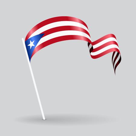 puerto rican: Puerto Rican pin icon wavy flag. Vector illustration.