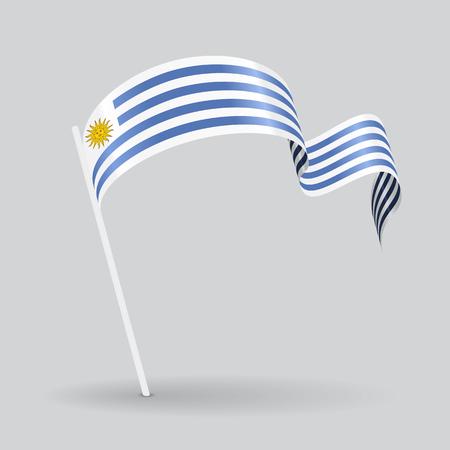 bandera de uruguay: icono de pin de la bandera ondulada de Uruguay. Ilustración del vector.