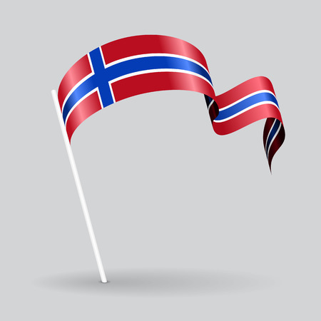 norwegian flag: Norwegian pin icon wavy flag. Vector illustration. Illustration