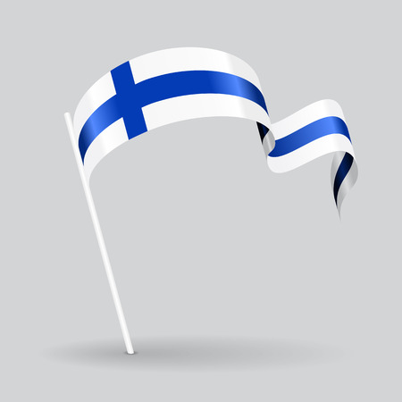 Finnish pin icon wavy flag. Vector illustration.