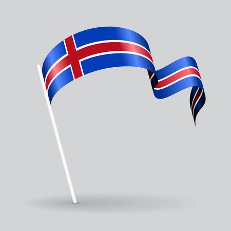 Icelandic pin icon wavy flag. Vector illustration.