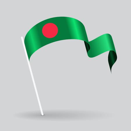 Bangladeshi pin icon wavy flag. Vector illustration.