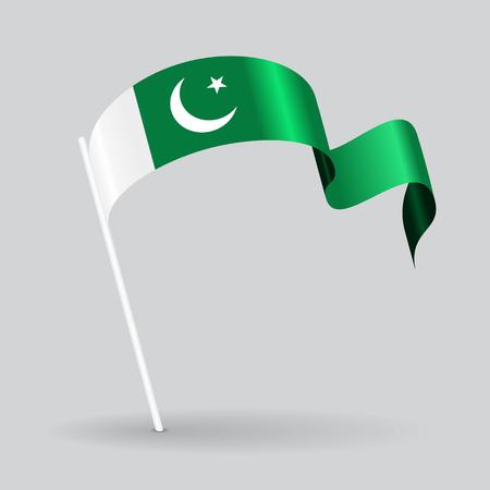 pakistani: Pakistani pin icon wavy flag. Vector illustration. Illustration