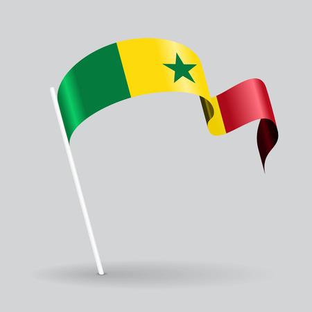 Senegalese pin icon wavy flag. Vector illustration.