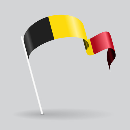 Belgian pin icon wavy flag. Vector illustration.