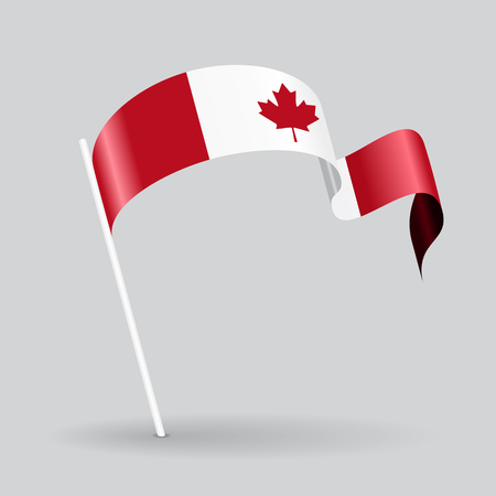 canadian icon: Canadian pin icon wavy flag. Vector illustration.