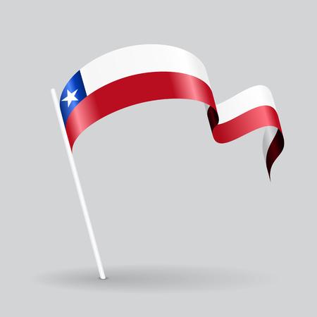 chilean flag: Chilean pin icon wavy flag. Vector illustration.
