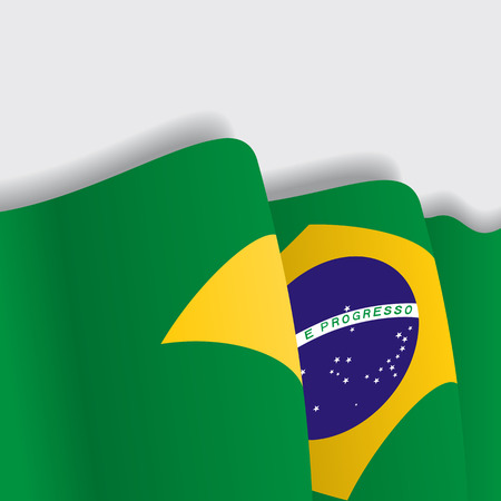 Brazilian waving Flag. Vector illustration Eps 8