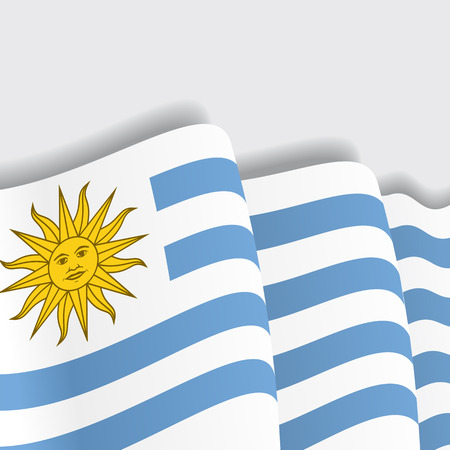bandera de uruguay: Bandera que agita de Uruguay. Ilustración vectorial Eps 8 Vectores