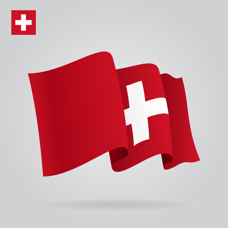 eps 8: Swiss waving Flag. Vector illustration Eps 8