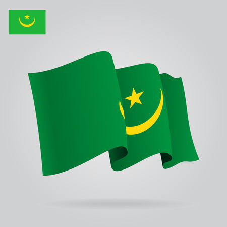 mauritania: Mauritanian waving Flag. Vector illustration Eps 8 Illustration