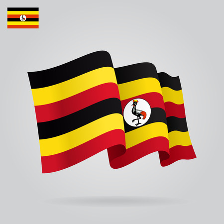 eps 8: Ugandan waving Flag. Vector illustration Eps 8