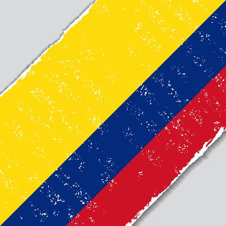Colombian grunge flag diagonal background. Vector illustration.