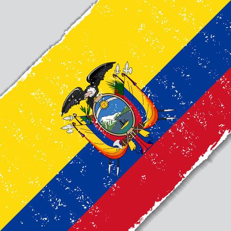 Ecuadorian grunge flag diagonal background. Vector illustration. Vector Illustration