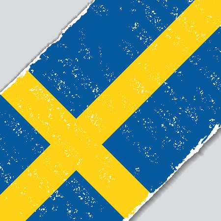 Swedish grunge flag diagonal background. Vector illustration. Illustration