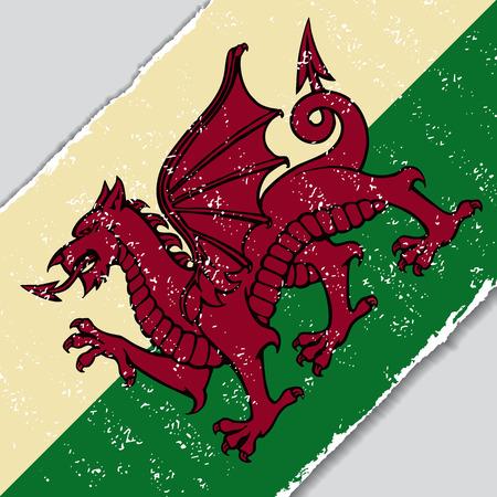 Welsh grunge bandiera diagonale sfondo. Illustrazione vettoriale. Vettoriali