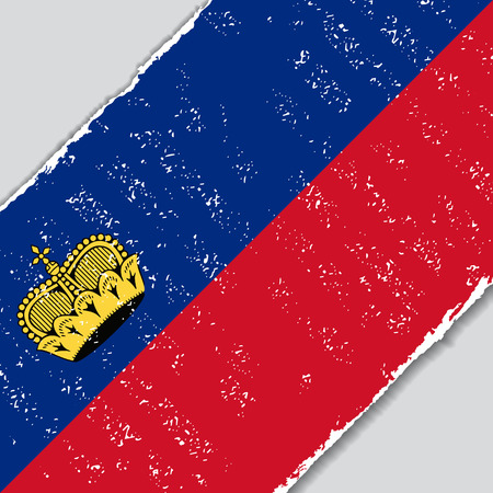 Liechtenstein grunge flag diagonal background. Vector illustration.