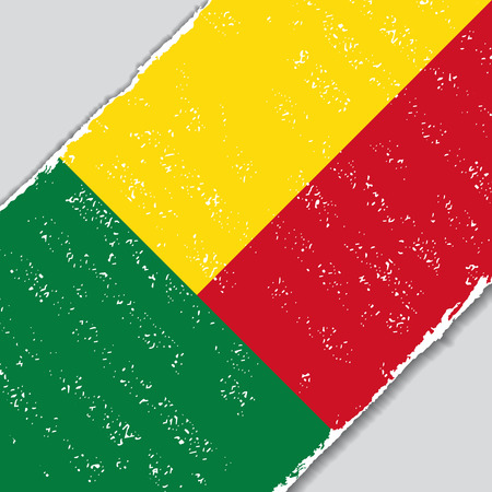 benin: Benin grunge flag diagonal background. Vector illustration.