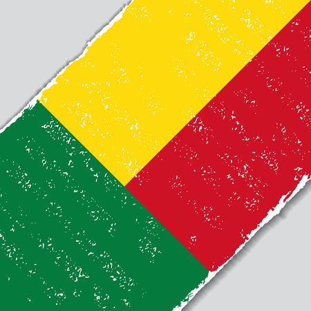 Benin grunge flag diagonal background. Vector illustration.