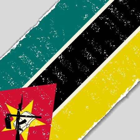 Mozambique grunge flag diagonal background. Vector illustration.