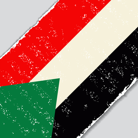 diagonal: Sudanese grunge flag diagonal background. Vector illustration. Illustration