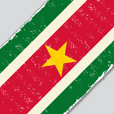 Suriname: Suriname grunge flag diagonal background. Vector illustration.