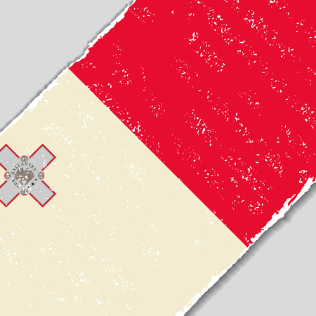 maltese dog: Maltese grunge flag diagonal background. Vector illustration.