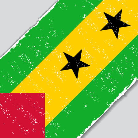 tome: Sao Tome and Principe grunge flag diagonal background. Vector illustration.