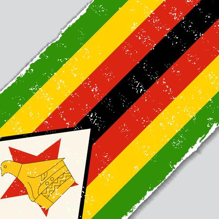 zimbabwe: Zimbabwe grunge flag diagonal background. Vector illustration. Illustration