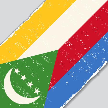 Comoros grunge flag diagonal background. Vector illustration.
