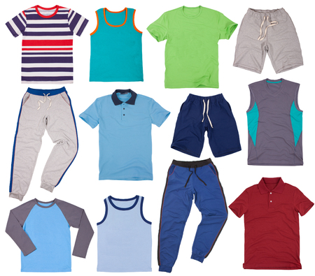 Set of summers male clothes. Isolated on white background.