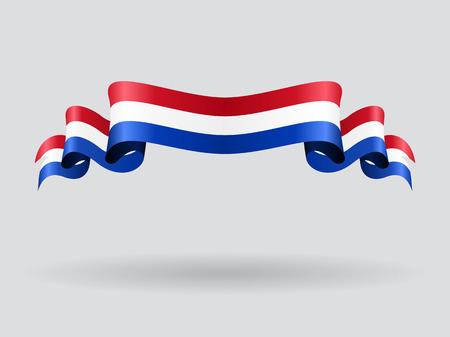 Néerlandais drapeau ondulé. Vector illustration.