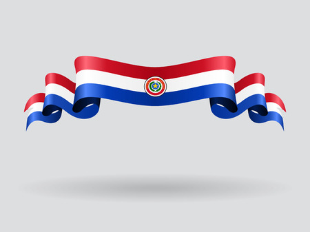 Paraguayan wavy flag. Vector illustration.