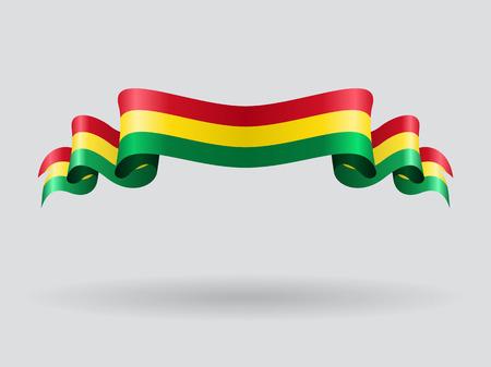 Bolivian wavy flag. Vector illustration.
