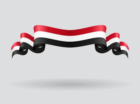 yemen: Yemeni wavy flag. Vector illustration.