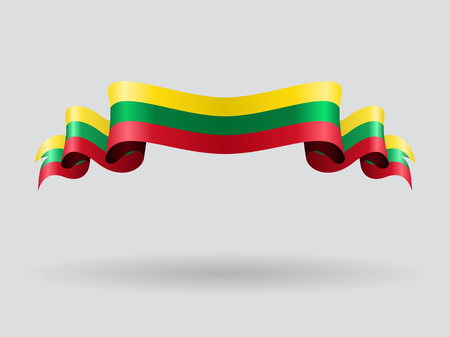 Lithuanian wavy flag. Vector illustration. Illustration