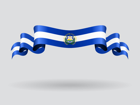 El Salvador wavy flag. Vector illustration.