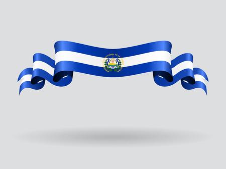 bandera de el salvador: ondulado del indicador de El Salvador. Ilustración del vector.